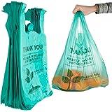 环保可堆肥袋 100 个可生物降解塑料杂货袋 - 可重复使用的*市场感谢购物袋,可回收塑料 T 恤袋,小号垃圾桶袋
