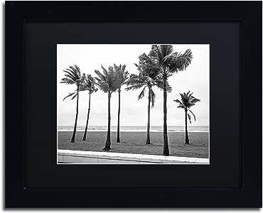 "Trademark Fine Art Florida BW Beach Palms by Preston Artwork, 11 by 14"", Black Matte Frame"
