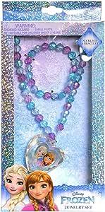 Disney 冰雪奇缘首饰盒套装带串珠项链和手链套装,饰有艾尔莎和安娜心形水晶吊坠 - 可爱的冰雪奇缘公主首饰套装,适合儿童玩耍