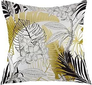ofloral 热带 PALM LEAF 抱枕套带金色棕榈树 LEAVES 枕套方形靠垫套适用于沙发沙发家居汽车卧室客厅装饰45.7x 45.7cm 金白色