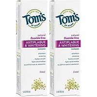 Tom's of Maine 无氟预防牙菌斑和焕白牙膏,天然牙膏,无氟牙膏,茴香,2件装,5.5盎司/155.9克