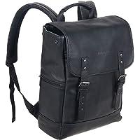 Kenneth Cole REACTION 哥伦比亚皮革单角撑襟翼电脑背包 14.1 寸(约 35.8 厘米) 黑色 均…