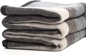 Desert Breeze Distributing 羊驼毛和绵羊羊毛毯,柔软而厚,72 x 88 英寸,安*斯系列,秘鲁制造 Amber Stripes BLKT-LST1