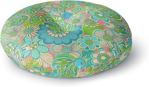 "KESS InHouse Julia Grifol""Welcome Birds to my Garden""圆形地板枕,58.42cm x 58.42cm 多种颜色 26"" x 26"" JG1008ARF02"