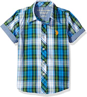 U.S. Polo Assn. 男童棉质格子短袖梭织运动衫 经典*蓝 14/16