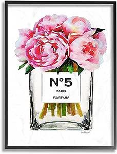 Stupell Industries 时尚设计师粉红色银色香水彩带框墙壁艺术 多色 16x20 agp-269_fr_16x20