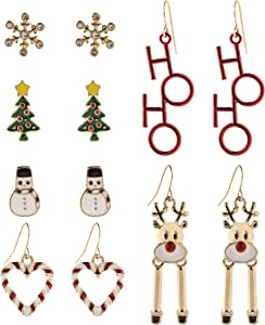 Lux Accessories 雪花圣诞树 HOHO 雪人烛台 6 对装耳钉