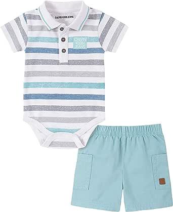 Calvin Klein 男婴 2 件套 Polo 衫短裤套装