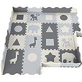 柔软泡沫婴儿玩具垫 - 互锁地板砖,超厚(0.80 英寸)— *,爬行,肚子时间垫— 中性色,儿童游戏室和婴儿托儿所— 婴儿,幼儿,儿童