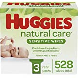 HUGGIES Natural Care Unscented Baby Wipes, Sensitive, 3 Refi…