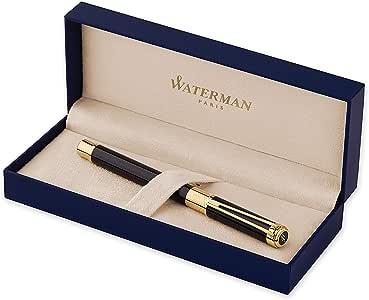 Waterman S0830660 钢笔 Perspective,线条宽度 F,书写颜色蓝色 Lack Schwarz G.C Federstärke M Black Gold Trim