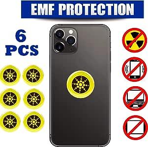 6 件 - EMF 保护手机*屏蔽,6 件装 PhlexTech 防* EMR/EMF 阻隔贴纸,适用于手机、笔记本电脑和所有电子设备 金色