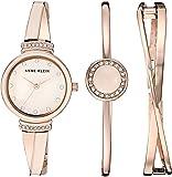 ANNE KLEIN 女士 AK/3292LPST 施华洛世奇水晶点缀手表和手镯套装,玫瑰金/粉色