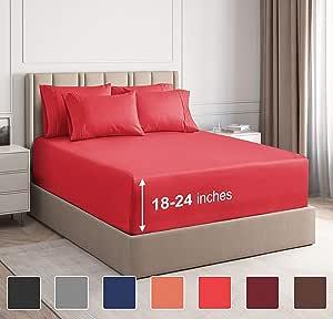 CGK Unlimited 超深口袋床单 - 7 件床单套装 - 分离式大号双人床床单 深口袋 - 超深床单 - 53.34 厘米深口袋 红色 加州King size