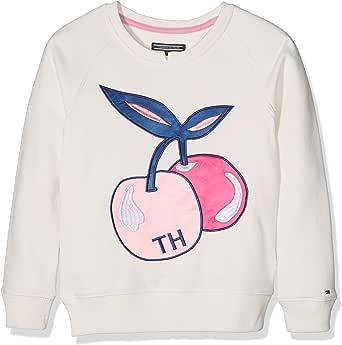 TOMMY HILFIGER 女孩贴布绣 CN hwk l/s 运动衫 White (Snow White) 176 (Manufacturer size: 16)