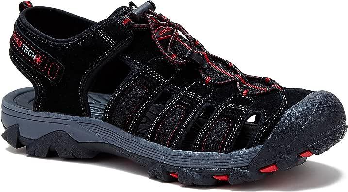 Swiss Tech 男式 Oberloand Leather BumpToe 凉鞋(7 D (M) 美国,黑色)