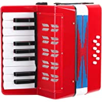 Classic Cantabile Bambino Rosso 儿童手风琴,红色(3岁起,17个音符按钮,8个低音,可调节的肩带)