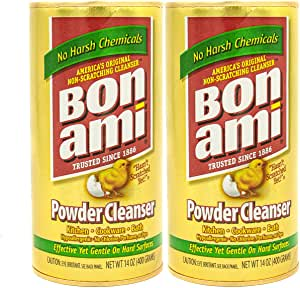 Bon Ami 粉末清洁剂,适用于厨房和卫生间 - 所有类型的表面,清洁污垢和污垢,抛光表面,吸收异味。 414.03 毫升罐 2组 28.0