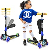 Hurtle 3 轮儿童滑板车 - 轮式 LED 灯,可调节倾斜车把和可折叠座椅 - 可坐或站立,带制动器,适合 1-14 岁男孩和女孩