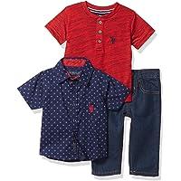 U.S. Polo Assn. 男宝宝裤子套装 Plaid/Red Multi 2 Years