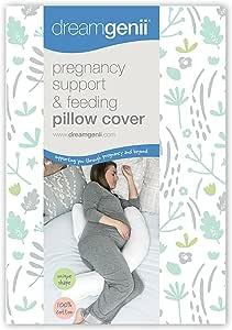 Dreamgenii 孕妇支撑和喂食枕头套 自然棉 灰色/绿色