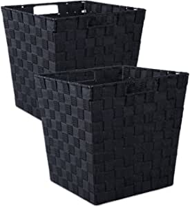 DII 耐用梯形编织尼龙收纳盒或篮子 黑色 大 CAMZ37526