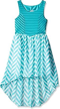 Emily West 女童大纹理针织波浪纹雪纺高低连衣裙 青色/白色 10