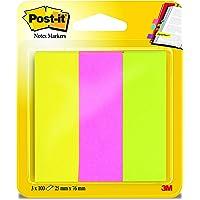 Post-It 670-10AB 便签条 书签 修长 12.7 × 44.4 毫米 多种颜色 10 × 50 张 3 x 100 Blatt neongrün/-pink/-gelb