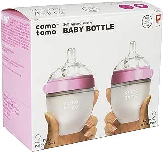 Comotomo 自然 Feel 奶瓶,4件装 粉色 5 盎司