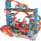 Hot Wheels FTB69 - 城市终极停车场和儿童停车场,车库,带鲨鱼,适用于+90辆汽车,带环路轨道,包括 2…