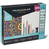 Prismacolor Premier Soft Core 铅笔成人涂色书包带搅拌器、插图记号笔、橡皮笔、磨刀和彩色小册子,25 件