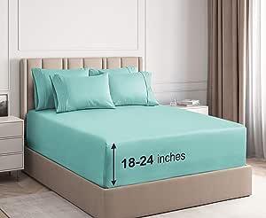 超深口袋床单 - 6 件套 - 加大床单深口袋 - 超深口袋大号床单 - 深床笠套件 - 超深口袋大号床单 - 轻松放入超深的床垫