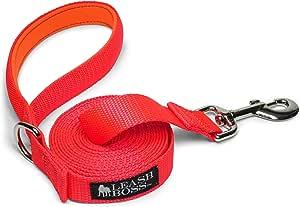 leashboss 10OR 4.6m 狗绳带衬垫手柄–长牵狗绳适用于远足,野营,探索,或散步 橙色 10 ft