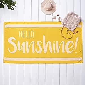 Welhome Cabana Beach * 土耳其棉毛巾 Hello Sunshine - Yellow Beach Towel - 2 pc Pack 887719119410