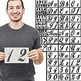 40 块超大模板套装字母数字艺术和工艺品 DIY 写字、标牌、小妹、绘画、装饰纤维木摇滚玻璃陶瓷陶瓷 -可重复使用的模板 12.7 x 20.32 厘米