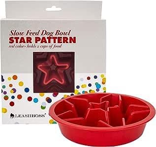 Leashboss 慢速喂食狗碗,适用于凸起的宠物喂食器 - 迷宫食品碗兼容高架餐具 带标准 2 夸脱碗 红色