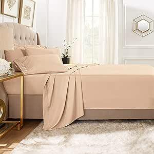 Clara Clark Premier 1800 系列 5 件套床单套装,带额外枕套 灰褐色沙子 全部 CC-6pc-Sheets-F-taupe