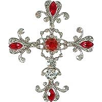 Bejeweled 圣诞节超大红色华丽十字架水钻别针 1312