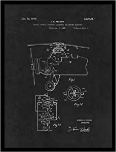 spotcolorart 1940远程控制转向装置适用于飞行 machine 飞机复古艺术作品墙壁艺术黑色带框油画印花家居办公室装饰非常适合 PILOT 礼品