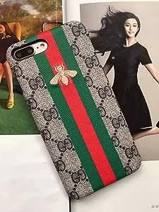 iphone7/ 8PLUS––美国尺码快速提供 guarantee FBA -- 奢华 PU 皮革 X 刺绣风格保护套适用于苹果 iPhone 7Plus iphone 8PLUS 仅 #43 Stripe Small BeeE