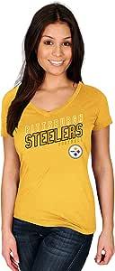 NFL 匹兹堡钢人队成人女式 NFL Plussteelers S 码/纯棉 V 领 T 恤,1X,金色