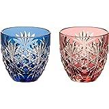 Kagami Crystal 冷水杯 红蓝色 140毫升 江户切子玻璃 六角笼纹 TPS735-2706AB