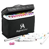 成人、青少年酒精马克笔 - AspireColor 80 色双头素描马克笔,含酒精基油墨 - 赠送细线笔,无色搅拌机,随…