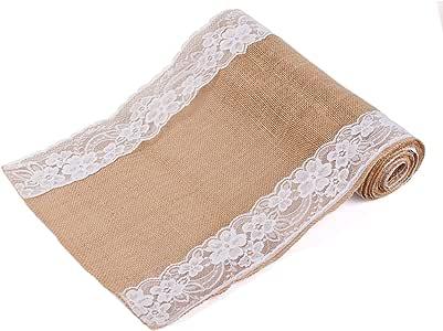 OYISIYI 粗麻布花边桌巾 长方形 30.48 x 274.32 cm 天然黄麻乡村桌面装饰用于婚礼派对装饰 A table runner-A