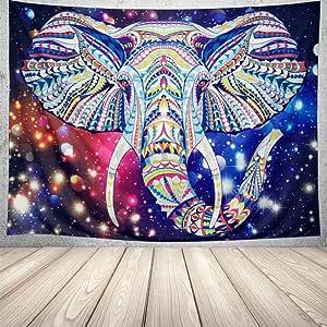 dipperion 大象挂毯挂紫色挂毯水彩波西米亚迷幻挂毯墙 tapestries 彩色嬉皮挂毯印度艺术墙卧室宿舍装饰