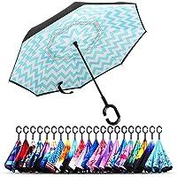 Owen Kyne 防风双层折叠伞,自立式自立式防雨保护汽车反向雨伞,带 C 形手柄