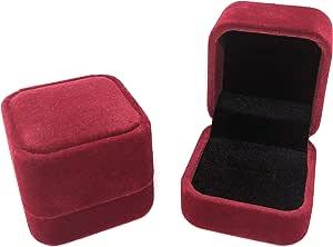 Rusoji 2 件套经典天鹅绒戒指盒耳环首饰礼品盒适用于订婚、婚礼 Set of 2 (Burgundy) 2 x 2 x 1.75 inches m251B-2-jewelry-ring-box-burgundy