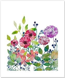 "Casa Fine Arts Field Flowers IV 多彩花卉植物野花档案水彩艺术印刷品 多种颜色 20"" x 24"" 56142"