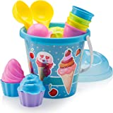 Top Race 沙滩套装,冰淇淋蛋糕系列模具套装,16 件套大号冰淇淋沙滩桶 蓝色