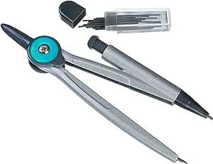 Linex 学校循环 Compass Cirkel 包括固定盒内包含用于学习和绘画的额外笔芯 5 mm Mine 蓝色